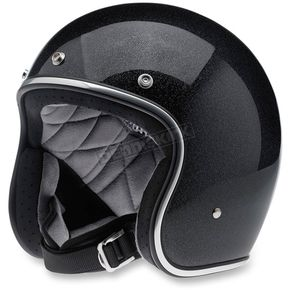 Biltwell Midnight Black Mini Flake Bonanza Helmet - BHMIDGLMINXXL
