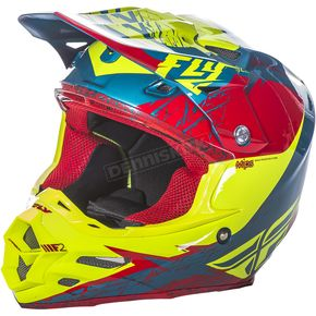 Fly Racing Red/Hi-Vis F2 Carbon MIPS Retrospec Helmet - 73-4223XS