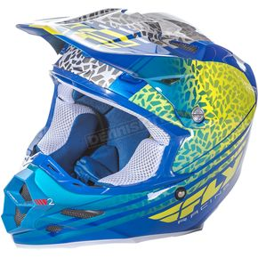 Fly Racing Yellow/Blue/White F2 Carbon Animal Helmet - 73-4143X
