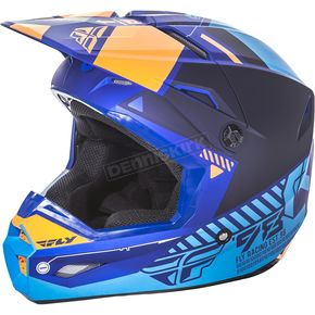 Fly Racing Youth Matte Blue/Orange Kinetic Elite Onset Helmet - 73-8503YL