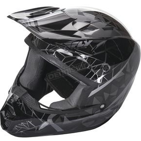 Fly Racing Youth Black Kinetic Crux Helmet - 73-3381YL