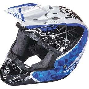 Fly Racing Youth White/Black/Blue Kinetic Crux Helmet - 73-3383YL