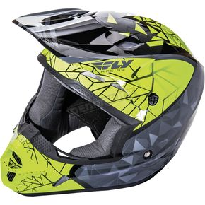 Fly Racing Black/Gray/Hi-Vis Kinetic Crux Helmet - 73-3385X