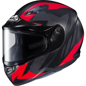 HJC Flat Black/Gray/Red CS-R3 Treague MC-1F Snow Helmet w/Framed Dual Lens Shield - 55-19212