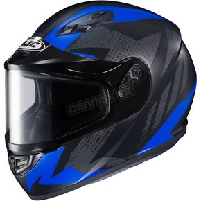 HJC Flat Black/Gray/Blue CS-R3 Treague MC-2F Snow Helmet w/Framed Dual Lens Shield - 55-19228