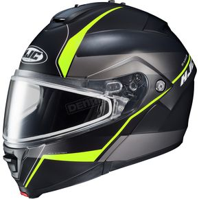 HJC Semi-Flat Black/Gray/Neon Greem IS-MAX 2 Mine MC-3HSF Snow Helmet w/Frameless Dual Lens Shield - 58-13732