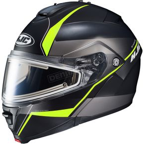 HJC Semi-Flat Black/Gray/Neon Green IS-MAX 2 Mine MC-3HSF Snow Helmet w/Frameless Electric Shield  - 58-23738