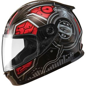 GMax Youth Black/Red/Silver GM49 DJ Snow and Street Helmet w/Two Shields - G7492201 TC-1