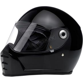Biltwell Gloss Black Lane Splitter Helmet - LSBLKGLECEMED