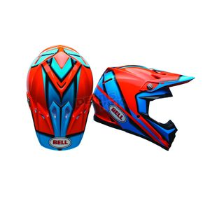 Bell Helmets Orange/Blue Moto-9 Spark Helmet - 7080755