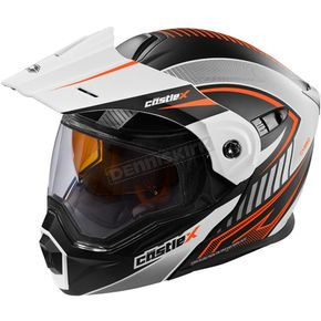 Castle X Flat White/Orange EXO-CX950 Apex Snow Helmet - 45-19179