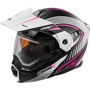 Castle X Flat White/Pink EXO-CX950 Apex Snow Helmet w/Electric Shield - 45-29184