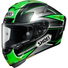Shoei Helmets Green/Silver/Black X-Fourteen Laverty TC-4 Helmet - 0104-1604-08