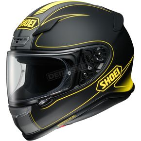 Shoei Helmets Matte Black/Hi-Viz Yellow RF-1200 Flagger TC-3 Helmet - 0109-3103-08