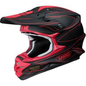 Shoei Helmets Matte Black/Red VFX-W Hectic TC-1 Helmet - 0145-9201-06