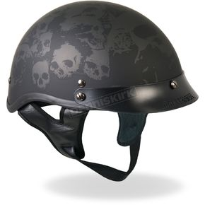 Hot Leathers Matte Black Ancient Skulls Helmet - HLD1029M