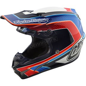 Troy Lee Designs White/Blue Squadra SE4 Carbon Helmet - 102195101