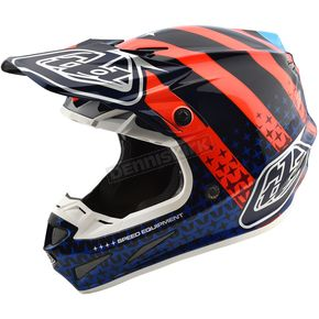 Troy Lee Designs Navy/Orange Streamline SE4 Carbon Helmet - 102404376