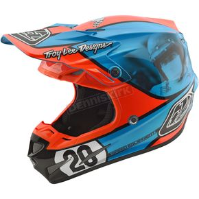 Troy Lee Designs Blue/Orange McQueen SE4 Composite Helmet - 101194376