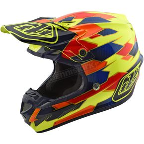 Troy Lee Designs Yellow/Blue Maze SE4 Composite Helmet - 101492535