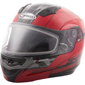 GMax Red/Black MD04 Quadrant Modular Snow Helmet w/Dual Lens Shield - G2041203 TC-1