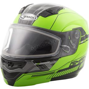 GMax Hi-Vis Green/Black MD04 Quadrant Modular Snow Helmet w/Dual Lens Shield - G2041674 TC-23