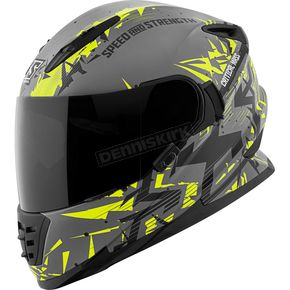 Speed and Strength Hi-Vis/Gray/Black Critical Mass SS1600 Helmet - 1111-0600-8154