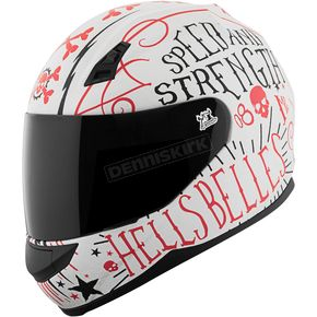 Speed and Strength Matte White/Red Hell's Belles SS700 Helmet - 1111-0603-0951