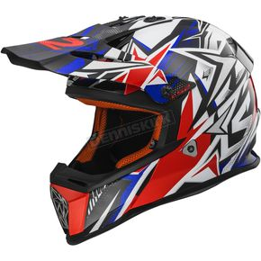 LS2 Blue/Red Fast Strong Helmet - 437-1303