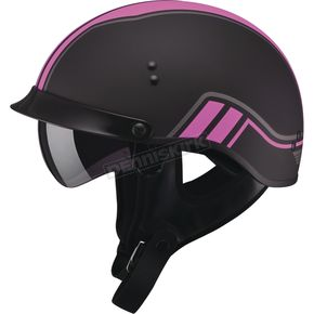 GMax Flat Black/Pink GM65 Full Dress Twin Half Helmet - G9659403