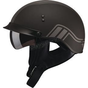 GMax Flat Black/Silver GM65 Full Dress Twin Half Helmet - G9659076