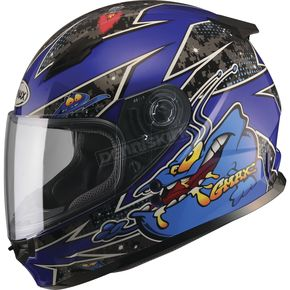 GMax Youth Black/Blue GM49Y Alien Street Helmet - G7496212 TC-2
