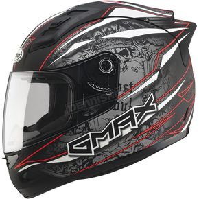 GMax Matte Black/Silver/Red GM69 Mayhem Helmet - G7693205 TC-1