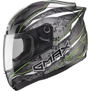 GMax Black/Silver/Hi-Vis Green GM69 Mayhem Helmet - G7693679 TC-23