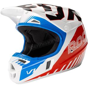 Fox Youth Blue/Red V1 Fiend SE Helmet - 19003-149-L