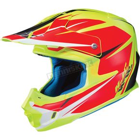 HJC Hi Viz Yellow/Semi-Flat Red FG-MX Axis MC-3HSF Helmet - 360-733