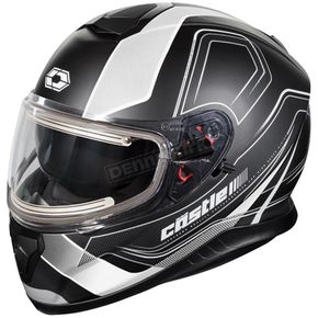Castle X Matte White Thunder 3 SV Trace Snow Helmet w/Electric Shield - 36-21404