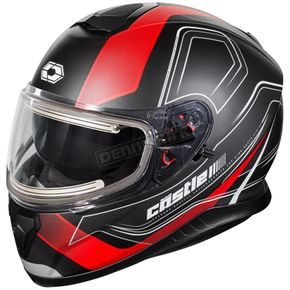 Castle X Matte Red Thunder 3 SV Trace Snow Helmet w/Electric Shield - 36-21416