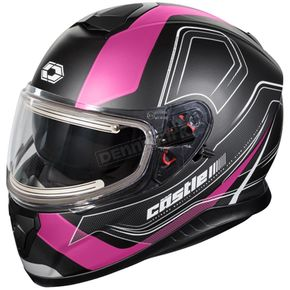 Castle X Matte Pink Thunder 3 SV Trace Snow Helmet w/Electric Shield - 36-21486