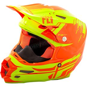 Fly Racing Hi-Vis/Orange F2 Carbon Forge Cold Weather Helmet - 73-4128-4-L