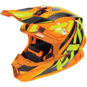 FXR Racing Orange/Hi-Vis Blade Carbon Throttle Helmet - 180604-3065-13