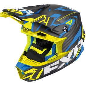 FXR Racing Black/Blue/Hi-Vis Blade Carbon Vertical Helmet - 180601-4065-19