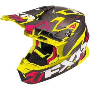 FXR Racing Black/Electric Pink/Hi-Vis Blade Carbon Vertical Helmet - 180601-9465-16