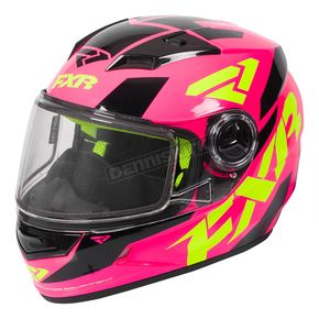 FXR Racing Youth Fuchsia/Hi-Vis/Black Nitro Core Helmet - 170662-9065-13