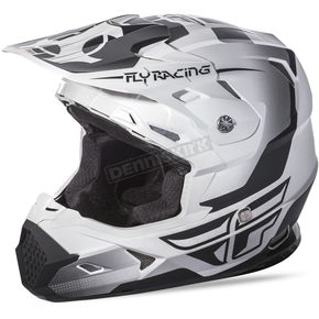 Fly Racing Matte White/Black Toxin Helmet - 73-8510L