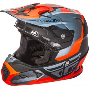 Fly Racing Youth Matte Orange/Black/Gray Toxin Helmet - 73-8516YM