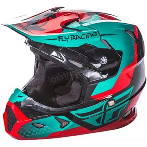 Fly Racing Youth Red/Teal/Black Toxin Helmet - 73-8518YS