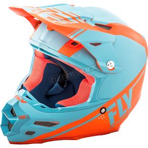 Fly Racing Matte Lite Blue/Orange F2 Carbon Rewire Helmet - 73-4168S