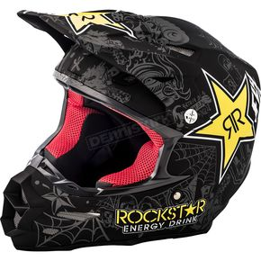 Fly Racing Matte Black/Charcoal/Yellow F2 Carbon Rockstar Helmet - 73-4076S