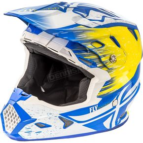 Fly Racing White/Yellow/Blue Toxin MIPS Resin Helmet - 73-8527L